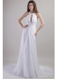 Popular Sheath / Column Halter Chapel Train Chiffon Appliques Wedding Dress