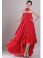 Red A-Line / Princess Strapless High-low Chiffon Embroidery with Beading Prom / Homecoming Dress