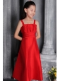 Red A-line / Princess Wide Straps Tea-length Satin Ruch Flower Girl Dress