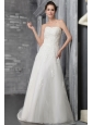 Romantic A-Line / Princess Strapless Court Train Tulle Appliques Wedding Dress