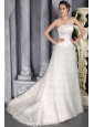 Romantic A-Line / Princess Strapless Brush / Sweep Satin and Tulle Ruffles Wedding Dress
