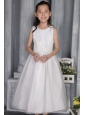 White A-line / Princess Scoop Ankle-length Organza Appliques Flower Girl  Dress