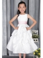 White A-line / Princess Scoop Ankle-length Taffeta Belt Flower Girl Dress
