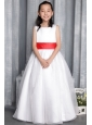 White A-line / Princess Scoop Floor-length Organza Belt Flower Girl  Dress