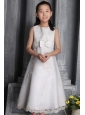 White A-line / Princess Scoop Tea-length Organza Beading Flower Girl Dress