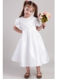 White A-Line / Princess Scoop Tea-length Taffeta Flower Girl  Dress
