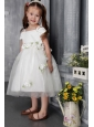 White A-line / Princess Straps Tea-length Tulle Hand Made Flowers Flower Girl Dress