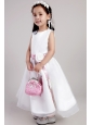 White A-line Scoop Ankle-length Organza Belt and Handle Made Flowers Little Girl Dress