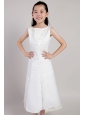 White A-line Scoop Tea-length Taffeta and Organza Appliques Flower Girl Dress