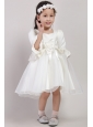 White A-line Square Knee-length Organza and Taffeta Embroidery and Handle Made Flowers Little Girl Dress