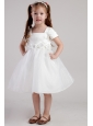 White A-line Square Knee-length Organza Handle Made Flowers Little Girl Dress