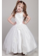 White A-line Straps Ankle-length Taffeta and Organza Appliques Flower Girl Dress