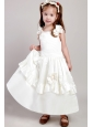 White A-line Straps Ankle-length Taffeta Bow  Flower Girl Dress