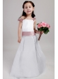 White A-line Straps Floor-length Taffeta and Organza Hand Made Flowers Flower Girl Dress