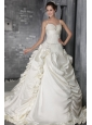 Fashionable A-Line / Princess Spaghetti Straps Cathedral Train Taffeta Beading Wedding Dress