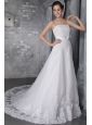 Popular A-Line/Princess Strapless Chapel Train Lace Beading Wedding Dress