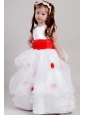White and Red A-line Scoop Floor-length Taffeta and Organza Bow Flower Girl Dress