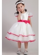 White Princess Scoop Tea-length Organza Beading and Bowknot Little Girl Dress