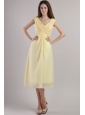Light Yellow Empire V-neck Ankle-length Chiffon Bridesmaid Dress