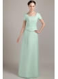 Apple Green Column / Sheath Square Floor-length Chiffon Beading Mother Of The Bride Dress