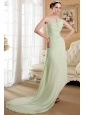 Yellow Green Empire One Shoulder Brush Train Chiffon Ruch Prom Dress