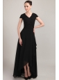 Black Column / Sheath V-neck Short Sleeves Floor-length Chiffon Beading and Ruch Mother of the Bride Dress