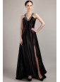 Black Empire V-neck Sweep / Brush Elastic Woven Satin Beading Prom Dress