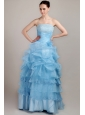 Baby Blue A-line Strapless Floor-length Taffeta and Organza Beading Prom Dress