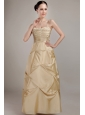 Champagne Column Spaghetti Straps Floor-length Taffeta Beading and Ruch Prom Dress