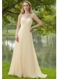 Champagne Empire Sweetheart Brush Train Chiffon Ruch Bridesmaid Dress
