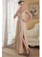 Champagne Empire V-neck Ankle-length Chiffon Sequins Prom Dress