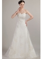 Classical A-line / Princess Sweetheart Court Train Organza Beading and Embroidery Wedding Dress
