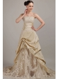 Elegant Champagne A-line / Princess Strapless Court Train Taffeta Wedding Dress