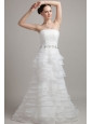 Exclusive A-line / Princess Court Train Strapless Organza Ruffles Wedding Dress