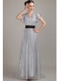Grey Empire V-neck Brush Train Sequin Belt Mother of the Bride Dress