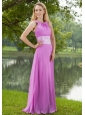 Lavender Empire Bateau Brush Train Chiffon Ruch Bridesmaid Dress