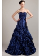 Navy Blue A-line Sweetheart Brush Train Taffeta Pick-ups Prom Dress