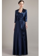 Navy Blue Empire Halter Floor-length Taffeta Mother of the Bride Dress