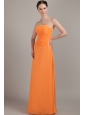 Orange Column Strapless Floor-length Chiffon Ruch Bridesmaid Dress