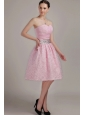 Pink  A-Line / Princess Sweetheart Knee-length Organza Beading Prom Dress
