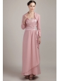 Baby Pink Column / Sheath Wide Straps Floor-length Elastic Woven Satin Beading Mother Of The Bride Dress
