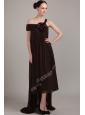 Brown Empire Asymmetrical High-low Chiffon Beading Plus Size Prom Dress