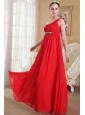 Red Empire One Shoulder Floor-length Chiffon Beading and Ruch Plus Size Prom / Evening Dress