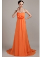 Orange Empire Sweetheart Brush Train Chiffon Hand Made Flowers Plus Size Prom Dress