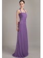 Purple Column Halter Brush Train Chiffon Ruch Bridesmaid Dress