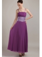 Purple Empire Strap Ankle-length Chiffon Ruch Prom Dress
