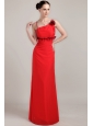 Red Column Straps Floor-length Chiffon Hand Made Flower Prom Dress