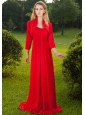 Red Empire Straps Floor-length Chiffon Ruch Mother of the Bride Dress