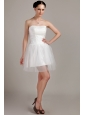 Lovely A-line / Princess Strapless Mini-length Organza Beading and Ruch Wedding Dress