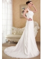 Beautiful A-line / Princess Straps Court Train Chiffon Beading Wedding Dress